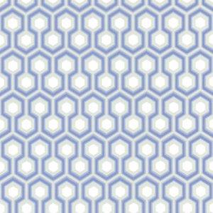 Hicks Blue and Gray Hexagon Pattern Wallpaper