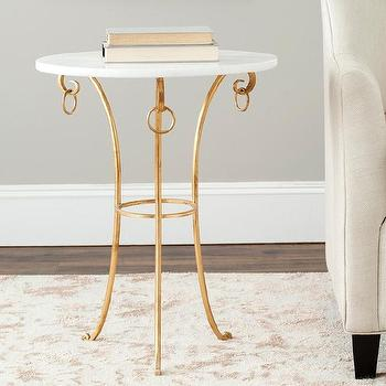 Safavieh Hidden Treasures White Granite Brass with Iron Accent Table