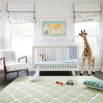 Nursery with Green Quatrefoil Rug, Transitional, Nursery
