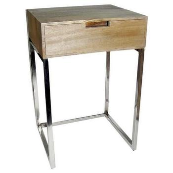 Hardwood and Chrome Accent Table