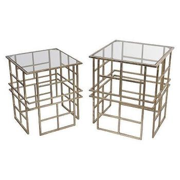 Modern Gold Square Glass Top Accent Tables