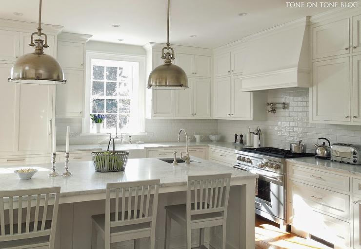 White on White Kitchen Design - Transitional - Kitchen - Farrow and Ball Pavilion Gray