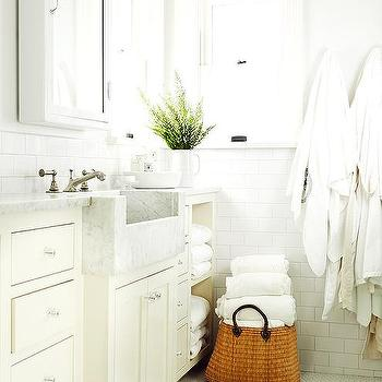 Bathroom with Marble Apron Sink, Cottage, Bathroom
