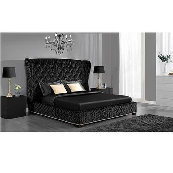 DHP Luxe Premium Black Velvet Upholstered  Bed