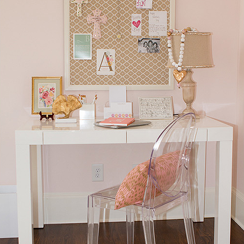 West Elm Parsons Desk with Ghost Chair, Transitional, Girl's Room