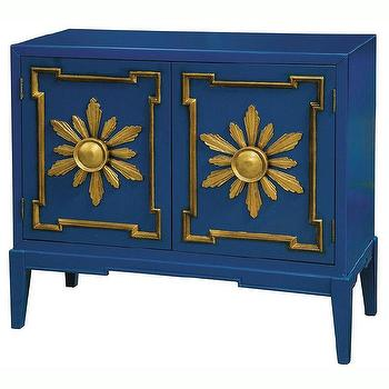 Hand Painted Distressed Blue Gold Finish Accent Chest