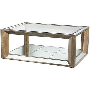 Julia Distressed Wood Glass Mirrored Coffee Table