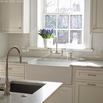 Kitchen with White Apron Sink, Transitional, Kitchen
