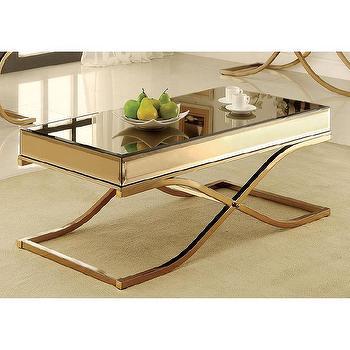 Furniture of America Orelia Luxury Gold Metal Coffee Table