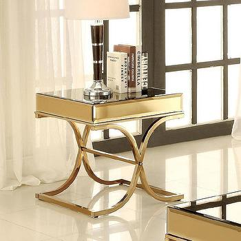 Furniture of America Orelia Luxury X-shaped Gold Metal End Table