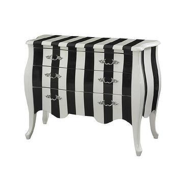 Powell White and Black Three Drawers Stripe Chest