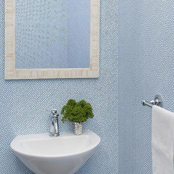 Powder Rooms with Blue Wallpaper, Transitional, Bathroom
