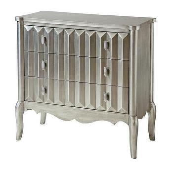 Sunderland Metallic Silver 3 Drawer Zigzag Accent Chest