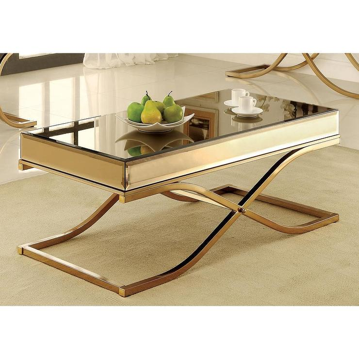 Furniture of america orelia luxury gold metal coffee table Gold metal coffee table