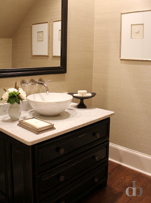 Tan and black powder rooms transitional bathroom for Powder room cabinets vanities