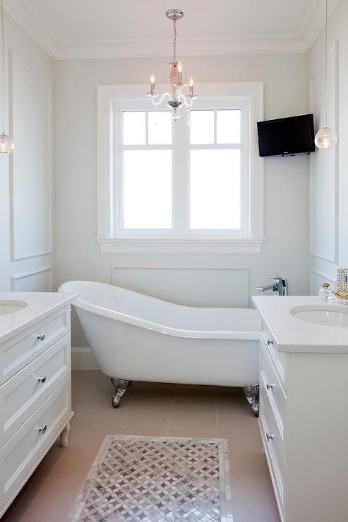 Corner Tv Over Tub Transitional Bathroom Benjamin