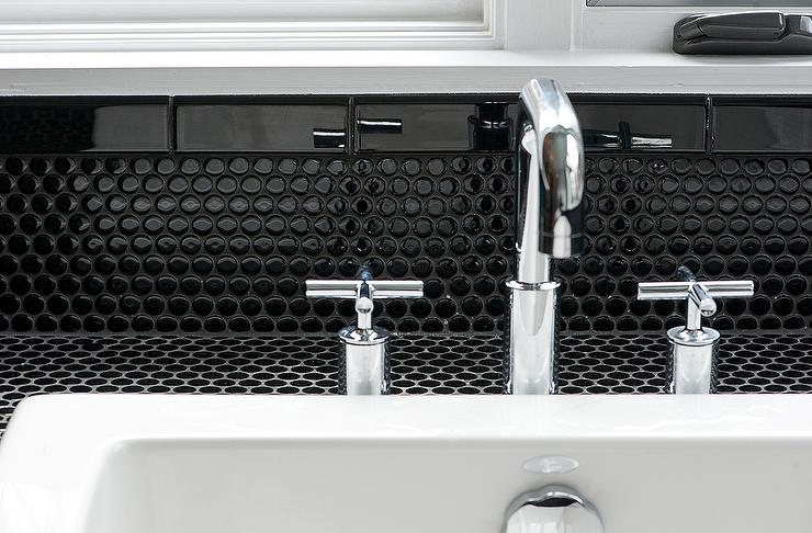 bathroom with black penny tiles contemporary bathroom