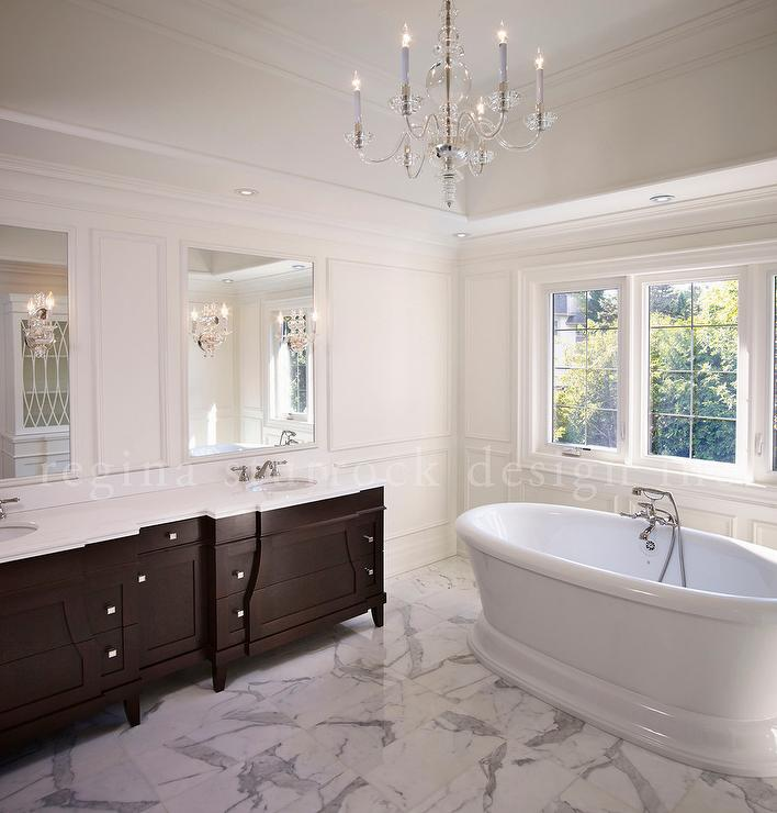 Espresso Dual Vanity With White Marble Top Transitional Bathroom