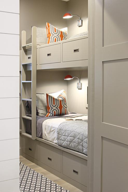 Gray Built In Bunk Beds Contemporary Boy s Room