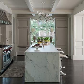 Gray Kitchen with Two Refrigerators, Transitional, Kitchen