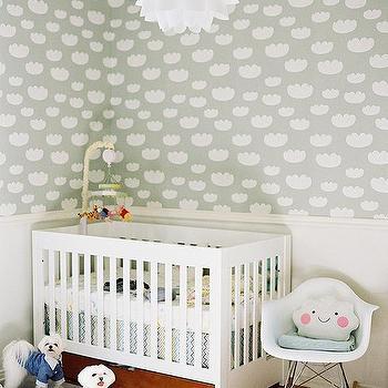 Nursery with Half Wallpapered Walls, Contemporary, Nursery