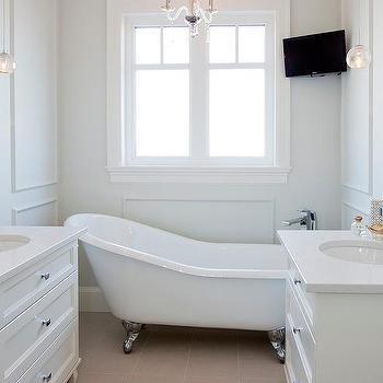 Corner TV Over Tub, Transitional, Bathroom, Benjamin Moore Dove Wing