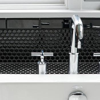 Bathroom with Black Penny Tiles, Contemporary, Bathroom