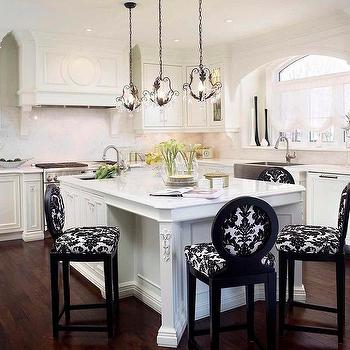 Black and White Damask Counter Stools, Transitional, Kitchen