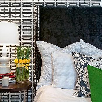 Black Velvet Headboard with Silver nailhead Trim, Contemporary, Bedroom