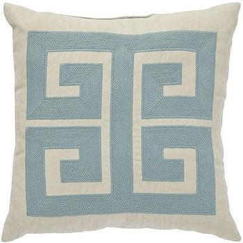 Blue Greek Key Pattern Pillow