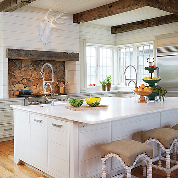 Country Kitchen with Rustic Wood Ceiling Beams, Country, Kitchen