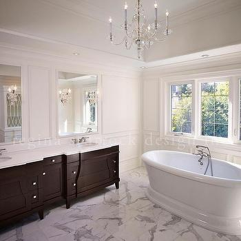 Espresso Dual Vanity with White Marble Top, Transitional, Bathroom