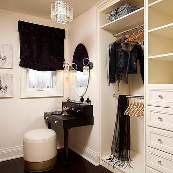 Closet with Black Make Up Vanity, Transitional, Closet