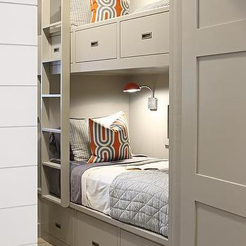 Gray Built In Bunk Beds, Contemporary, Boy's Room