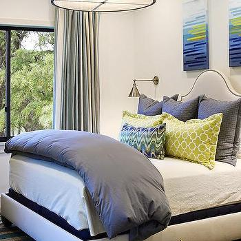 Gray Drum Pendant Over Bed, Contemporary, Bedroom