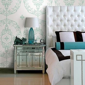 Greek Key Nightstand, Contemporary, Bedroom
