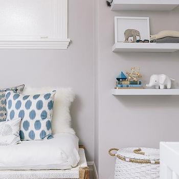 Nursery with Floating Shelves, Transitional, Nursery