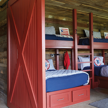 Red Bunk beds with Red Barn Door, Country, Boy's Room