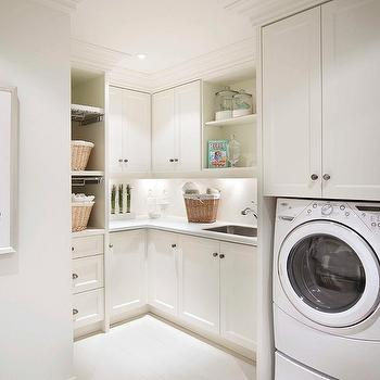 Washer Dryer Below Cabinets, Transitional, Laundry Room