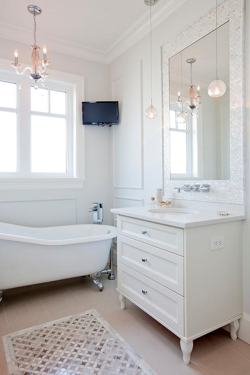 Mother of Pearl Vanity Mirror, Transitional, Bathroom, Benjamin Moore Dove Wing