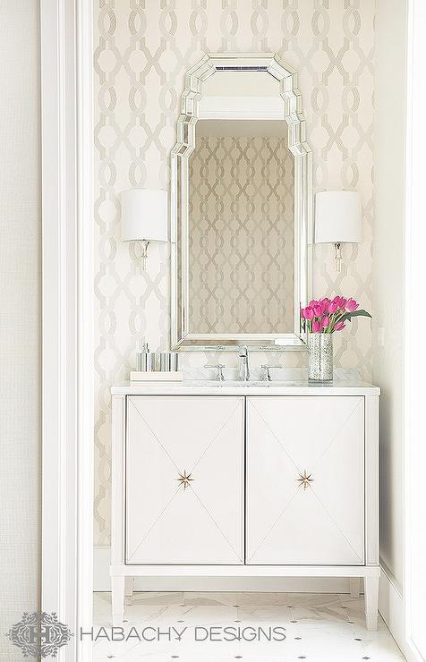Art deco powder room design hollywood regency bathroom for Hollywood bathroom design