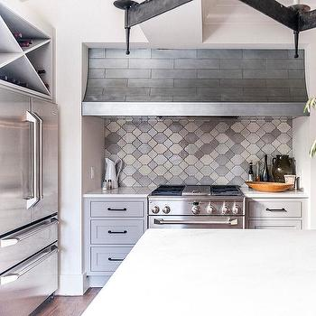 Cooking Nook with Gray Moroccan Tile Backsplash, Transitional, Kitchen