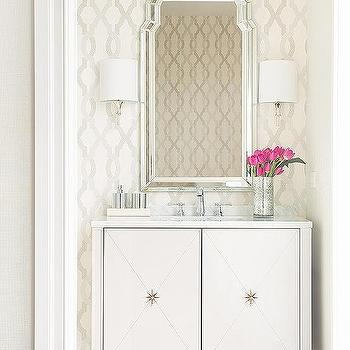 Wallpaper For Powder Rooms Contemporary Bathroom