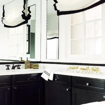 Black and White Bathroom with Gold Accents, Contemporary, Bathroom