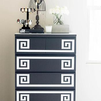 Black and White Greek Key Dresser, Transitional, Bedroom