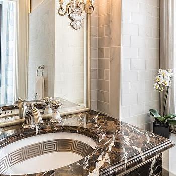 Brown Marble Bathroom Vanity, Transitional, Bathroom