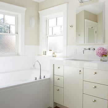 Cream Lacquered Bathroom Vanity, Transitional, Bathroom