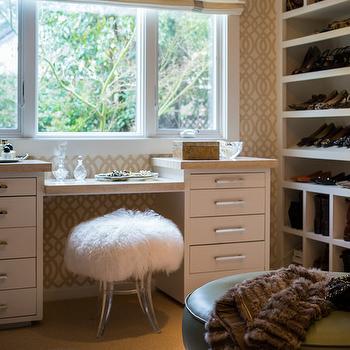 Sheepskin and Acrylic Vanity Stool, Transitional, Closet