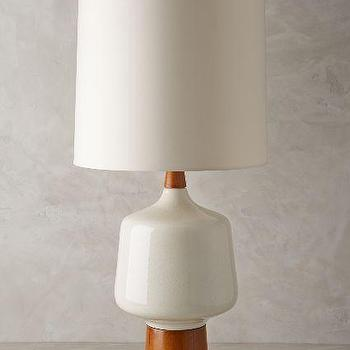 Porcelain and Walnut Lamp Ensemble