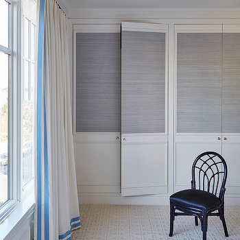Closet Doors with Grasscloth Wallpaper, Transitional, Bedroom